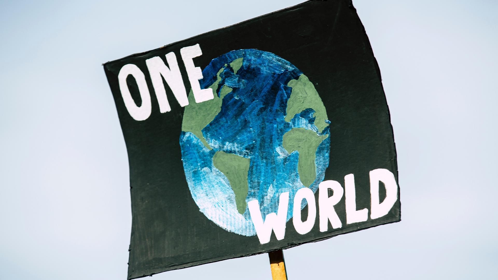 Pancarta a favor del clima