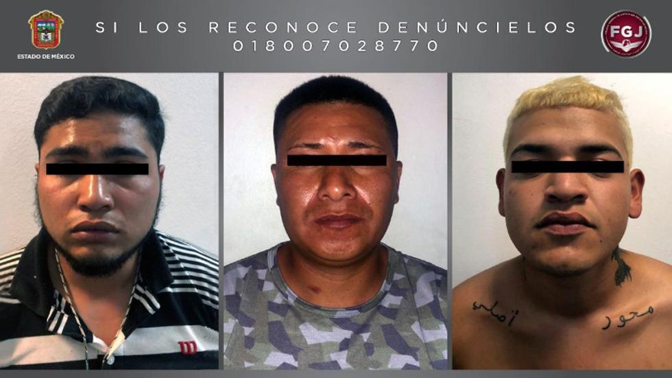 Detienen en el Estado de México a tres miembros del CJNG - Presuntos miembros del CJNG detenidos en Edomex. Foto de FGJEM