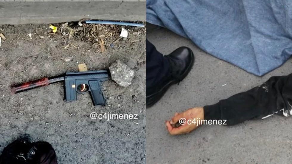 Agente mata a tres presuntos asaltantes de combi en Venustiano Carranza - En la combi viajaba en agente, que con su arma de fuego mató a los tres hombres, quienes quedaron tirados sin vida