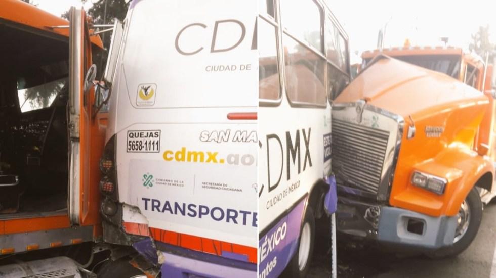 Camión impacta unidad de transporte público sobre Periférico Oriente - Choque Periférico Iztapalapa transporte público
