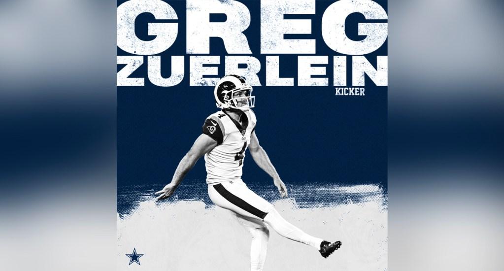 Dallas Cowboys firma por tres años al pateador Greg Zuerlein - El contrato será por los siguientes tres años y 7.5 millones de dólares, con lo que Vaqueros se convierte en el segundojersey en la carrera de Zuerlein
