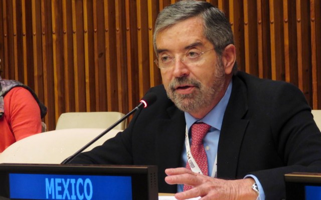 Participación social, esencial ante vacuna contra COVID-19; en México, porcentaje que se negaría a vacuna COVID-19 será pequeño: De la Fuente - El Embajador Juan Ramón De la Fuente durante las negociaciones intergubernamentales por la Reforma al Consejo de Seguridad de la ONU. Foto de @MexOnu