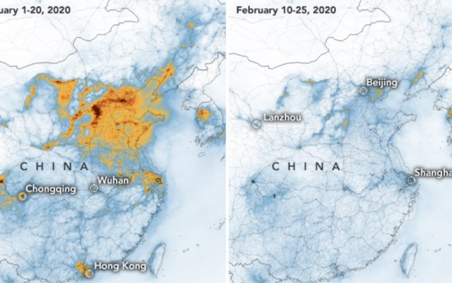 Revelan disminución de contaminación en China por COVID-19