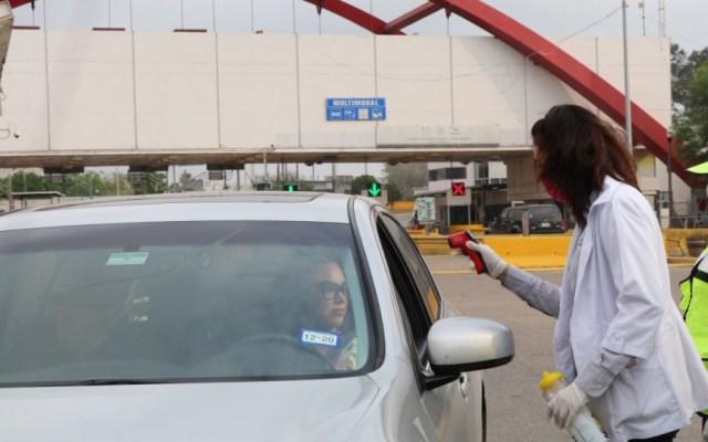 México plantea a EE.UU. mantener restricciones de tránsito en frontera 30 días más - Filtro sanitario en frontera de Matamoros. Foto de @matamorosgobmx