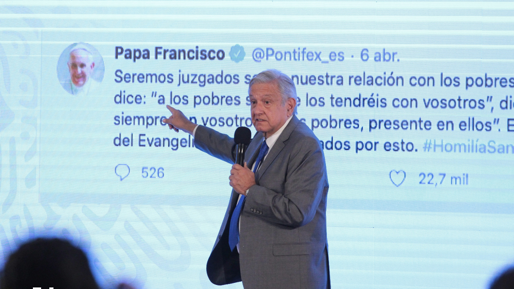 López Obrador acude a un tuit del papa para defender sus ayudas a los pobres - Foto de Notimex