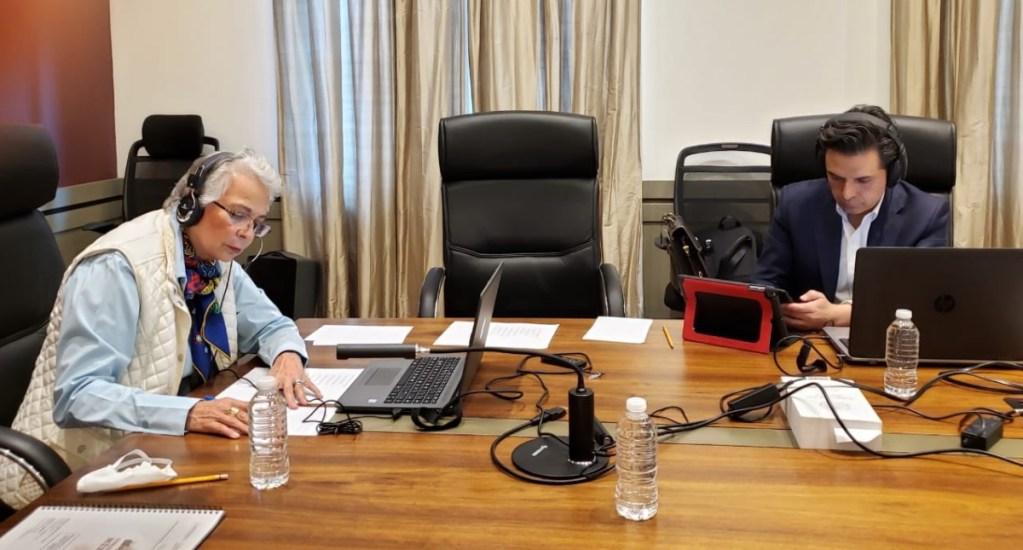 Sánchez Cordero y Robledo sostienen videoconferencia con GOAN - Segob videoconferencia IMSS GOAN PAN