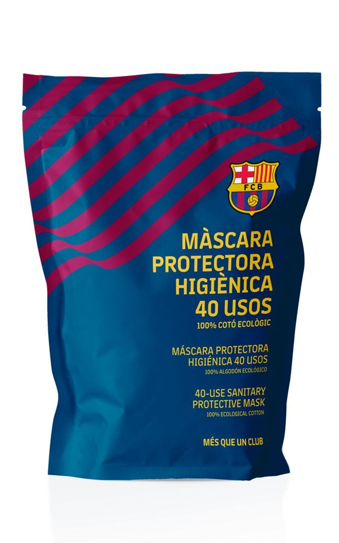 La presentación del paquete de cubrebocas. Foto de FC Barcelona.