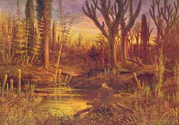 Fósil de 400 millones de años da pistas sobre evolución de las plantas - Pintura representando al ambiente del Devónico