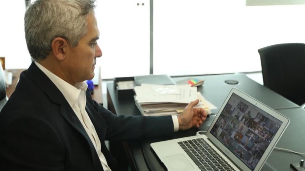 Mancera pide fiscalizar labor de las Fuerzas Armadas en seguridad - Miguel Ángel Mancera en reunión virtual con la Jucopo del Senado y Alfonso Durazo. Foto de @ManceraMiguelMX