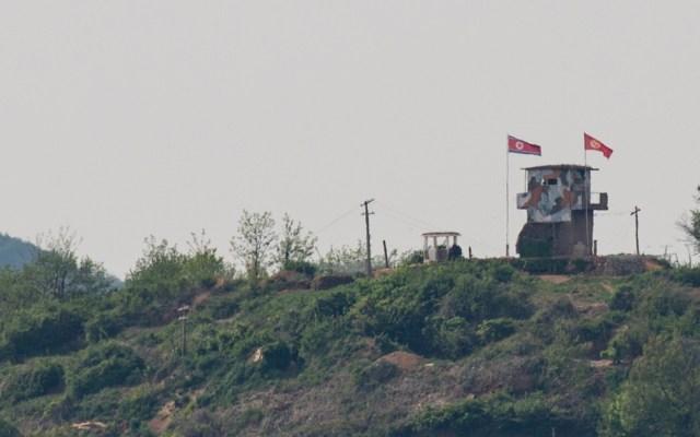 Pionyang rechaza diálogo con Seúl y dice que reenviará tropas a la frontera - Puesto militar de Corea del Norte en franje fronteriza con Corea del Sur. Foto de EFE