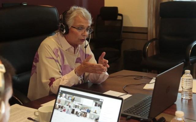 Segob e IMSS abordan reinicio de actividades esenciales con 12 gobernadores - Sánchez Cordero en reunión virtual con 12 gobernadores. Foto de @SEGOB_mx