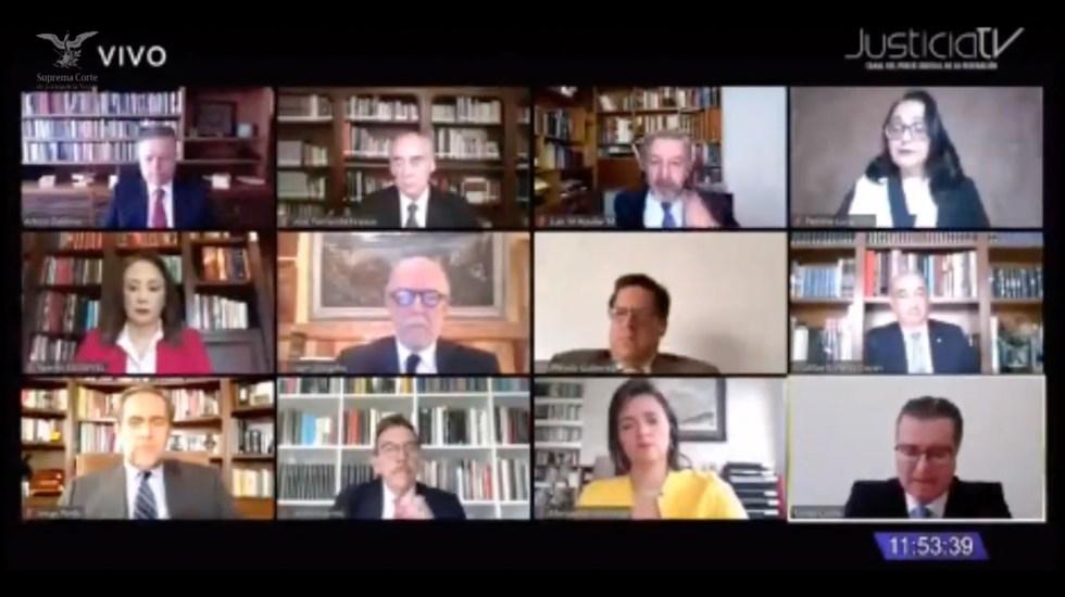 #EnVivo Perfila Suprema Corte declarar inconstitucional 'Ley Bonilla' - Sesión virtual de la SCJN por Ley Bonilla. Captura de Pantalla.
