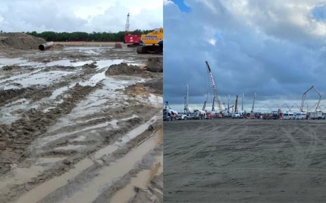 Así luce Dos Bocas; este viernes la visitará el presidente - La imagen de la izquierda corresponde al martes; la de la derecha a este jueves.  Foto especial