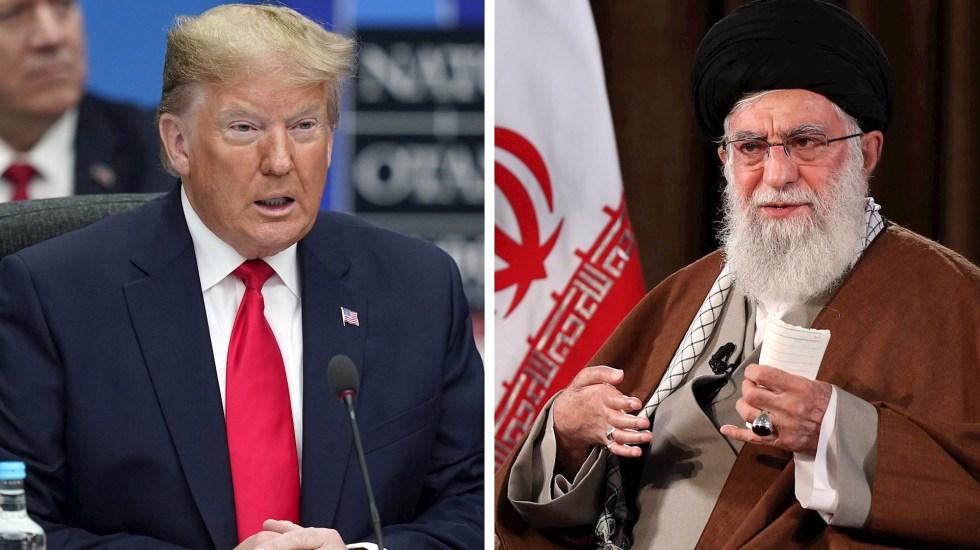 Irán emite orden detención contra Trump por asesinato del general Soleimani - Composición donde aparece Donald Trump (Izq-) y el líder supremo de Irán, Ali Khamenei. Foto de EFE/ EPA/ WILL OLIVER/IRAN'S SUPREME LEADER OFFICE.