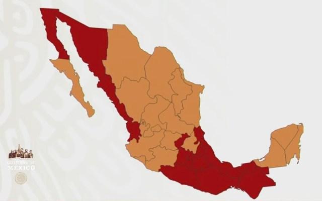 Semáforo epidémico en México: 17 entidades están en color naranja; 15 estados permanecen en riesgo máximo - Captura de pantalla
