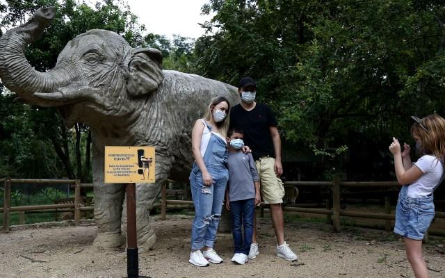 Indisciplina social y desescaladas frenan lucha contra el COVID-19 en América - Una familia posa para una foto en el Zoológico de Cali, Colombia. Foto de EFE