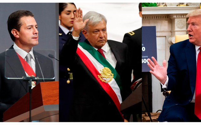 Donald Trump, de la tensión con Peña Nieto a la sintonía con López Obrador - Composición de fotografías de Enrique Peña Nieto, Andrés Manuel López Obrador y Donald Trump. Fotos de EFE/ Archivo.