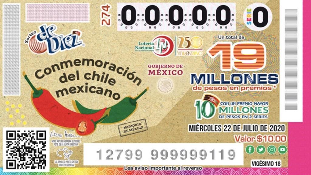 Lotería Nacional presenta billete conmemorativo del chile mexicano - Foto de Lotería Nacional