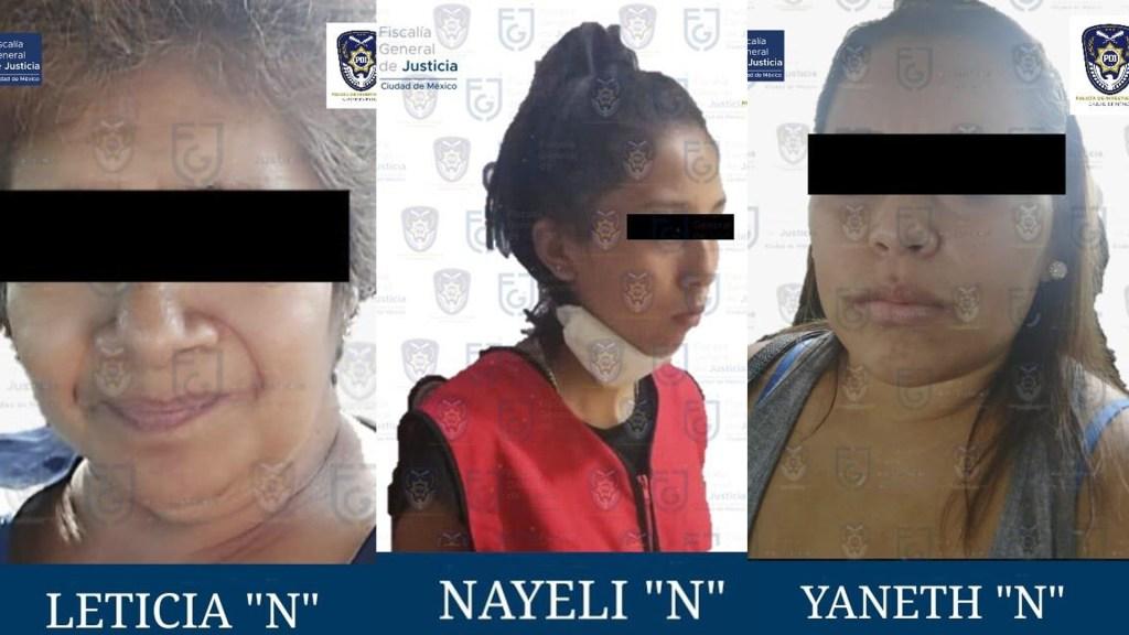 Detienen a tres mujeres por el secuestro de médicos en hoteles de Tacubaya - Detenidas por el secuestro de médicos en la Ciudad de México. Foto de @FiscaliaCDMX