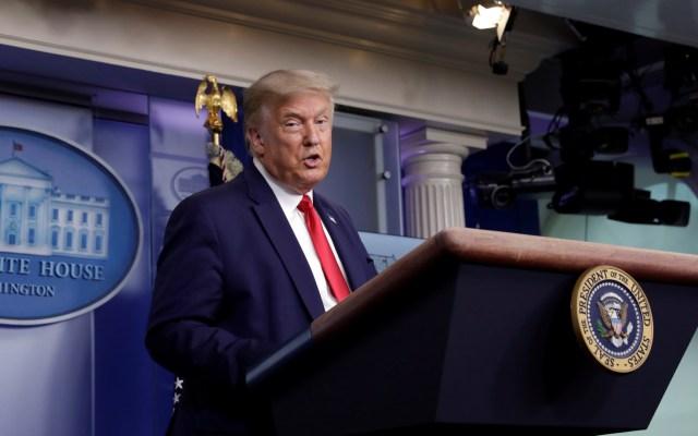 Trump cancela convención republicana en Jacksonville por COVID-19 - Donald Trump en conferencia de prensa desde la Casa Blanca. Foto de EFE