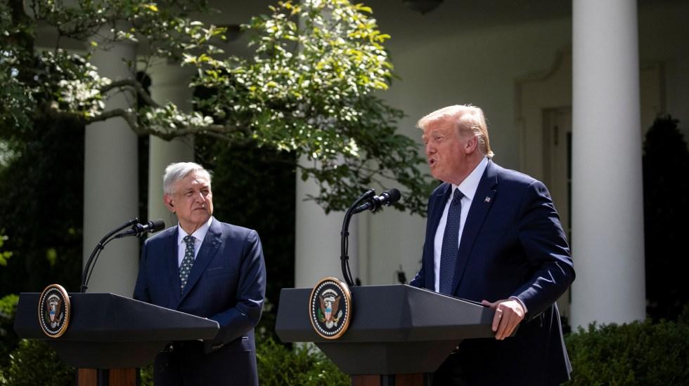 Silvano Aureoles critica discurso de López Obrador ante Trump - López Obrador junto a Donald Trump desde el Jardín de las Rosas en la Casa Blanca. Foto de EFE