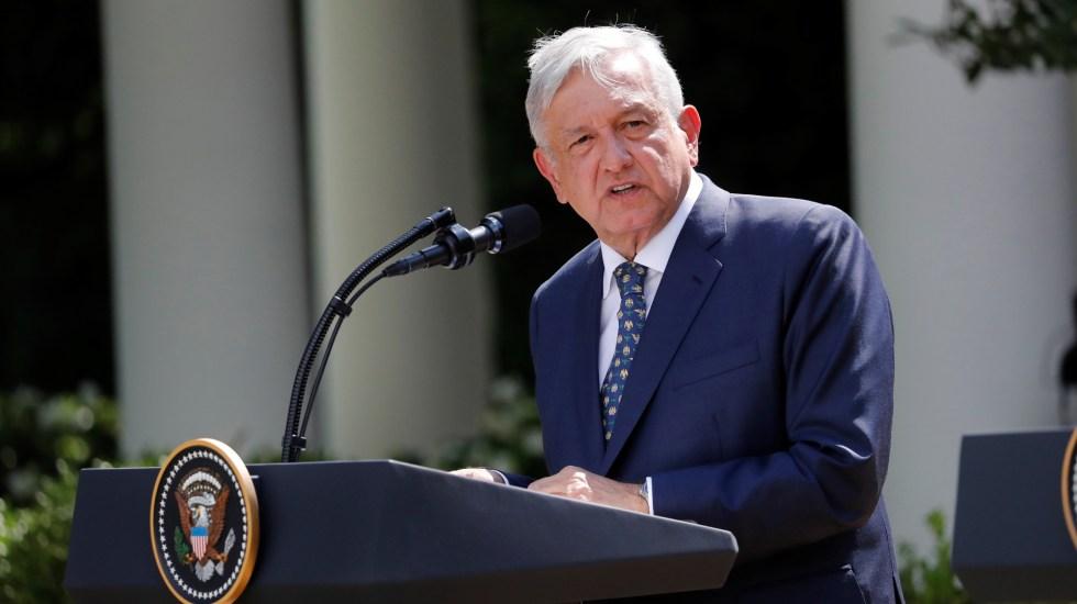 López Obrador habló 45 por ciento más rápido en la Casa Blanca - López Obrador pronuncia discurso en la Casa Blanca. Foto de EFE