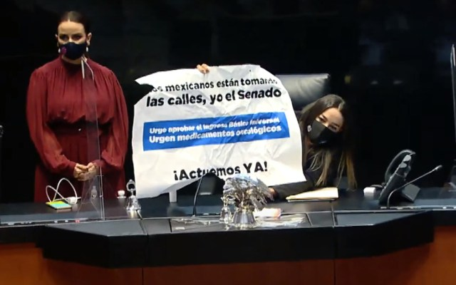 #Video Senadoras 'pelean' previo a inicio de sesión extraordinaria - Senadora Martha Márquez del PAN toma la tribuna del Senado. Captura de pantalla