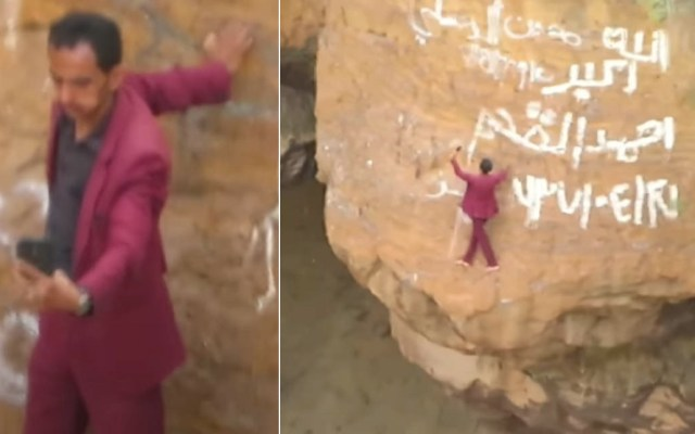 #Video Hombre desciende por el borde de un volcán para tomarse fotos - Yemen fotografía hombre volcán selfies