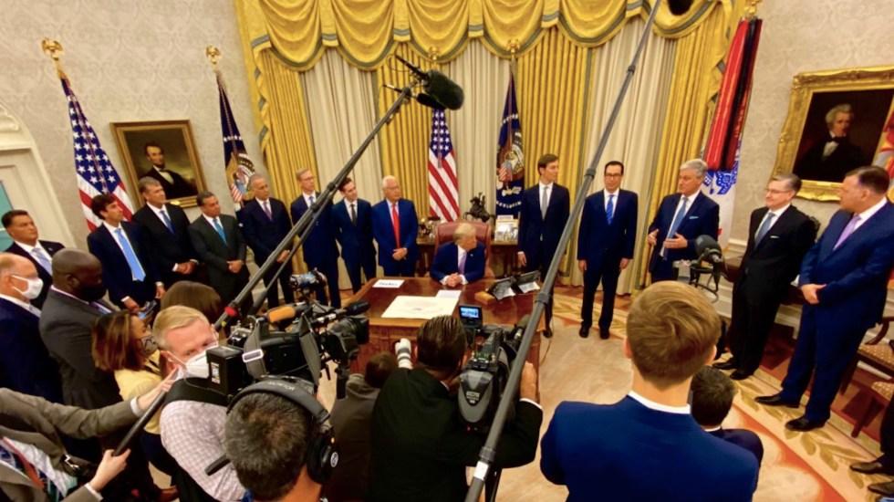 Donald Trump revela acuerdo de paz entre Israel y Emiratos Árabes Unidos - Foto de @Scavino45