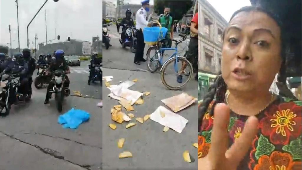 #Video Intentan decomisar en CDMX bicicleta a 'Lady Tacos de Canasta' - Lady Tacos de Canasta. Captura de pantalla