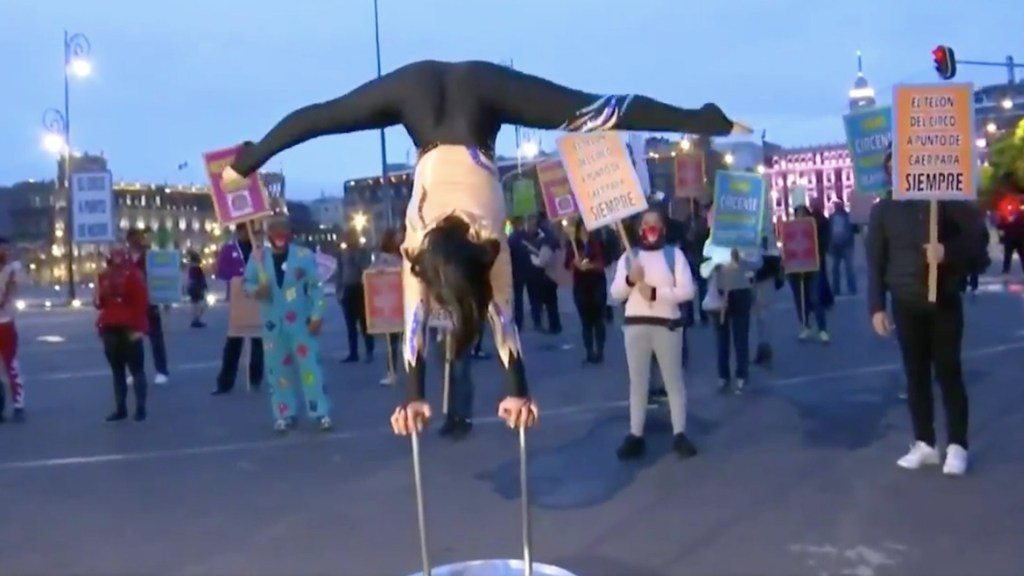 #Video Artistas protestan frente a Palacio Nacional; exigen reapertura de circos - Protesta de artistas circenses en Palacio Nacional. Captura de pantalla