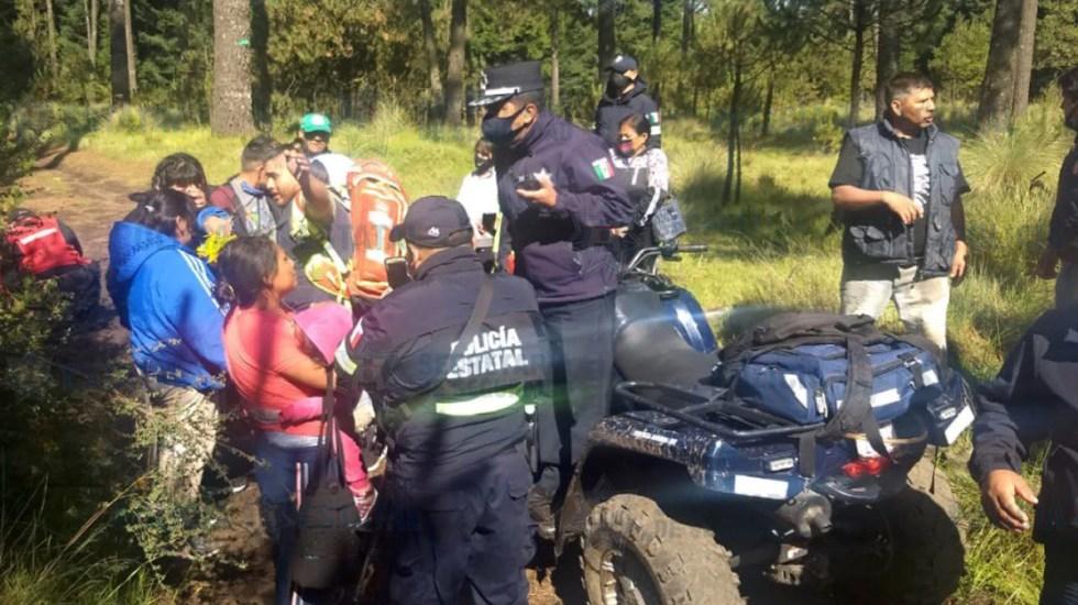 Rescatan a seis personas extraviadas en La Marquesa; una mujer murió - Rescate de personas extraviadas en La Marquesa. Foto de @SS_Edomex