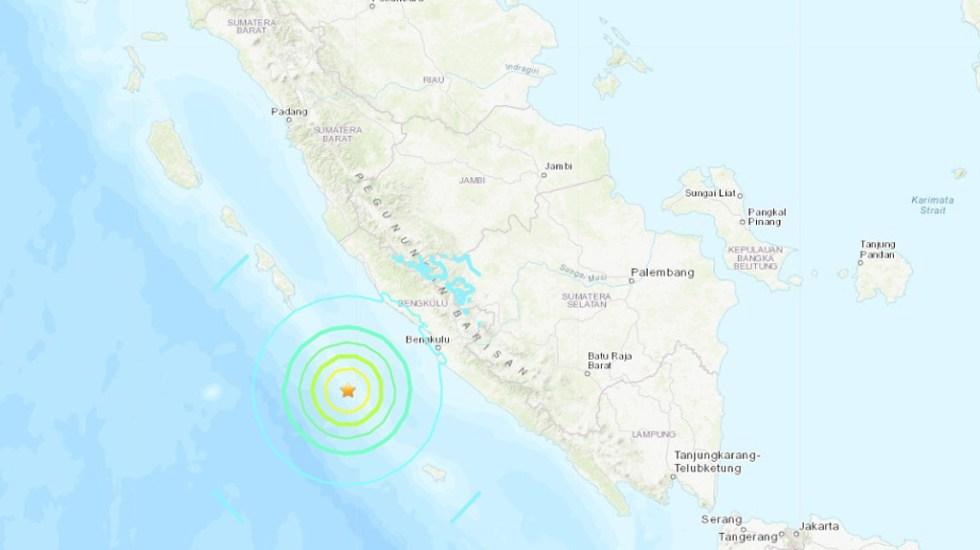 Temblores de magnitud 6.8 y 6.9 sacuden la isla de Sumatra - Sismo en isla de Sumatra. Foto de USGS