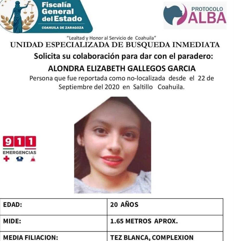 La ficha emitida para hallar a Alondra Elizabeth Gallegos García. Foto Fiscalía de Coahuila