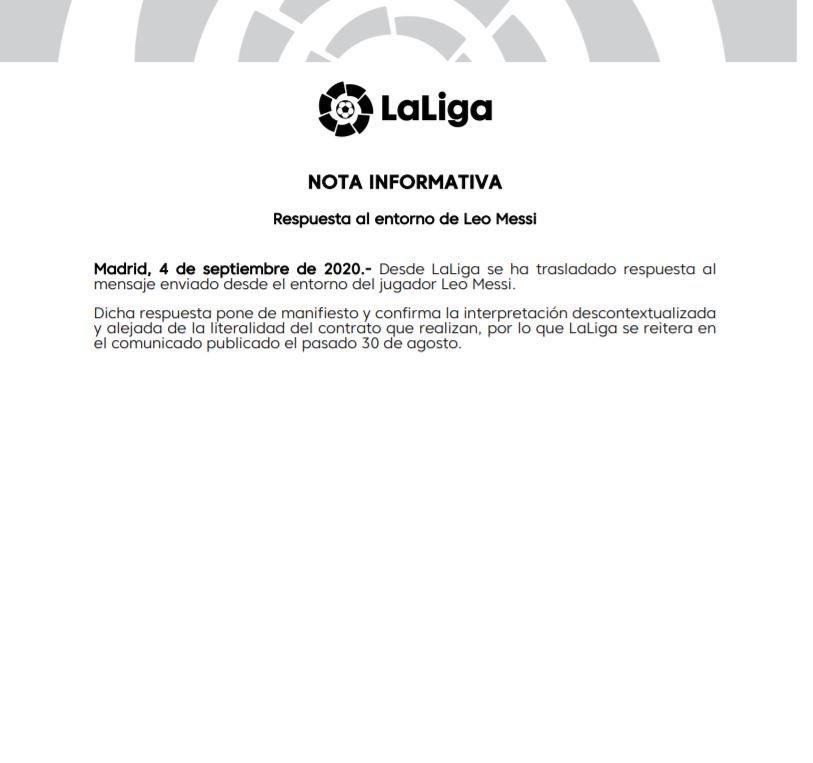 Comunicado de LaLiga en respuesta a Jorge Messi.