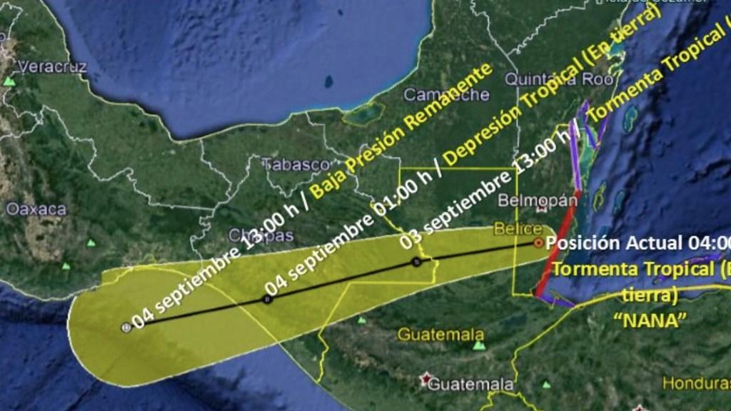 Tormenta tropical Nana continúa su avance hacia Chiapas; provocará lluvias torrenciales en cinco estados - Foto de SMN