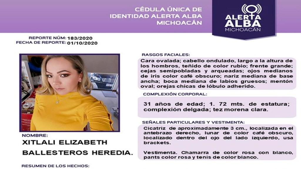 A una semana de hallazgo del cuerpo de Jessica González, desaparece Xitlali en Morelia - Foto @AlertaAlbaMich