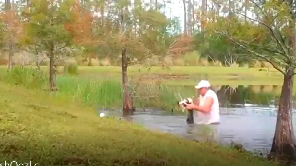 #Video Hombre salva de las fauces de cocodrilo a su perro en lago de Florida - Hombre salva de las fauces de un cocodrilo a su perro cachorro en un lago de Florida