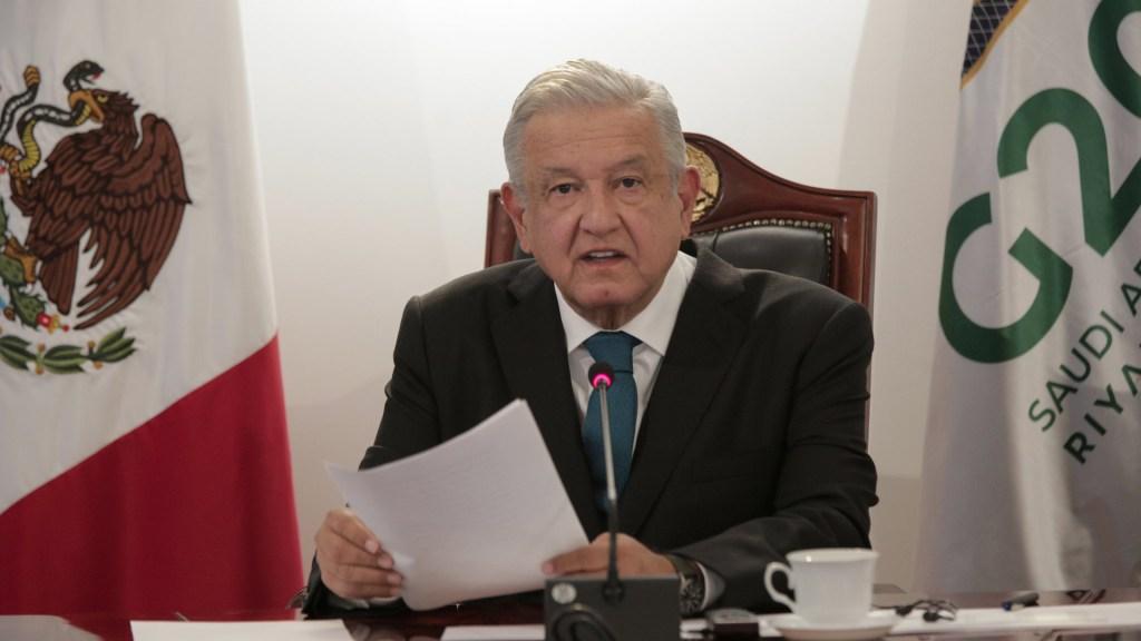 AMLO presume ante líderes del G20 austeridad y combate a la corrupción en México para no recurrir a deuda ante crisis por COVID-19 - López Obrador en segundo día de la cumbre del G20. Foto de @ArturoHerrera_G