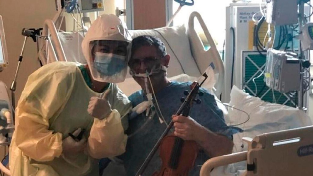 #Video Maestro de orquesta intubado por COVID-19 toca el violín para agradecer a personal médico - Maestro de orquesta intubado por COVID-19 toca el violín para agradecer a personal médico.  Foto Hospital McKay-Dee