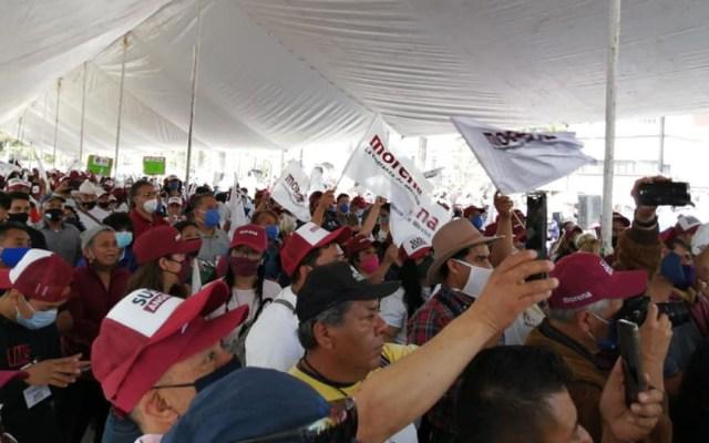 Morena pacta coalición con PT, PVEM y Nueva Alianza en Nuevo León - Mitin de Morena. Foto de @CENMorenaMX