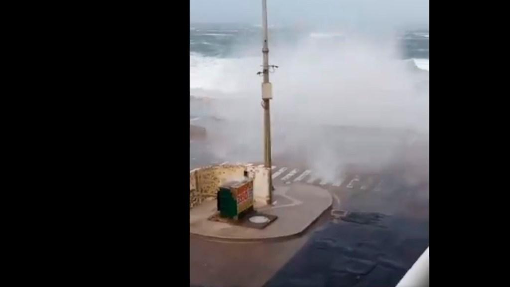 #VIDEO Fuertes rachas de viento levantan olas en puerto de Veracruz y desprende árboles por frente frío número 23 - Fuertes rachas de viento levantan olas en puerto de Veracruz y desprende árboles en colonias por frente frío número 23. Foto Captura de pantalla
