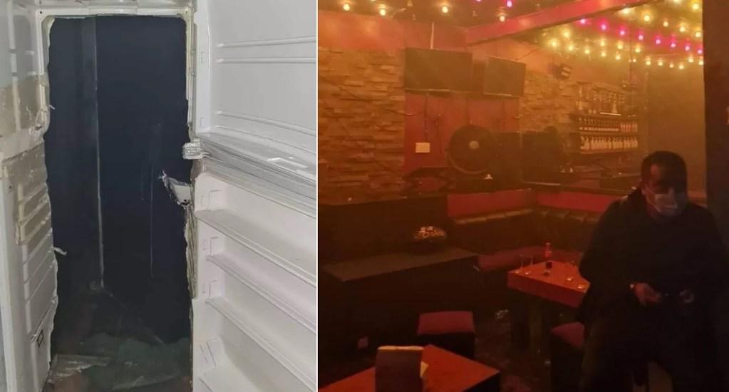Clausuran bar clandestino en Pachuca, Hidalgo; acceso estaba en refrigerador falso - Fotos: especial