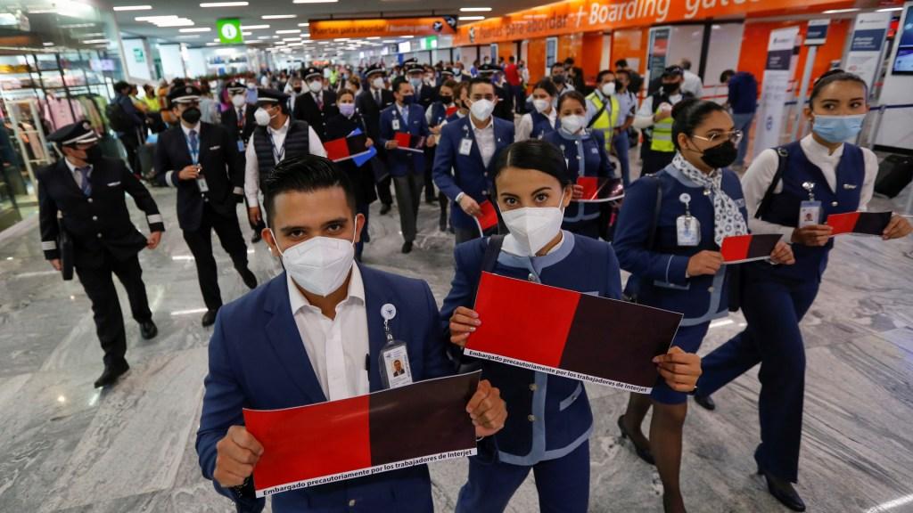 Desecha Junta de Conciliación y Arbitraje recurso de Interjet para declarar inexistente huelga - Empleados de Interjet en huelga en Aeropuerto Internacional de Guadalajara. Foto de EFE