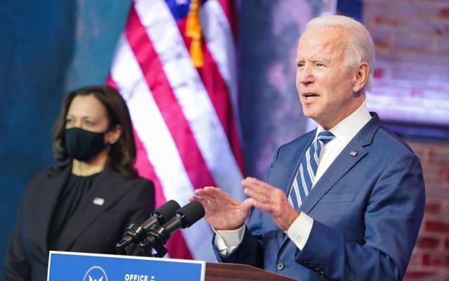 Biden prepara un discurso de investidura 'optimista' en un EE.UU. en crisis - Joe Biden durante discurso junto a Kamala Harris. Foto de @JoeBiden