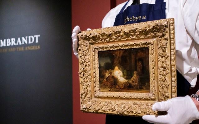 Prevén obtener 30 mdd por subasta de cuadro de Rembrandt - El cuadro 'Abraham y los ángeles', pintado por Rembrandt en 1646, será subastado el próximo 28 de enero en Nueva York. Se espera que sea vendido por entre 20 y 30 millones de dólares. Foto de EFE