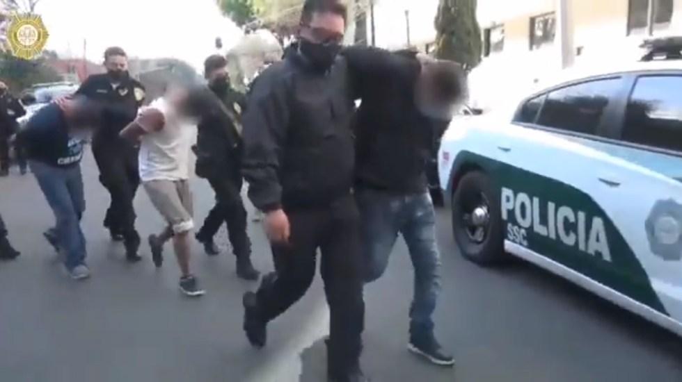 Detienen en Xochimilco a presuntos integrantes de La Unión Tepito - Detenidos en Xochimilco. Foto de @SSC_CDMX