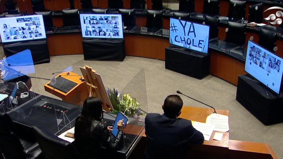 """Exhiben carteles con la frase """"Ya Chole"""" en sesión del Senado - Captura de pantalla"""