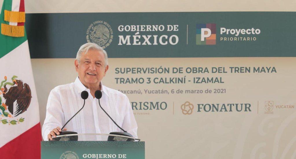 """""""No es miedo, es para que no haya provocación"""": AMLO sobre cerco a Palacio Nacional previo al #8M - El presidente López Obrador. Foto de Presidencia."""