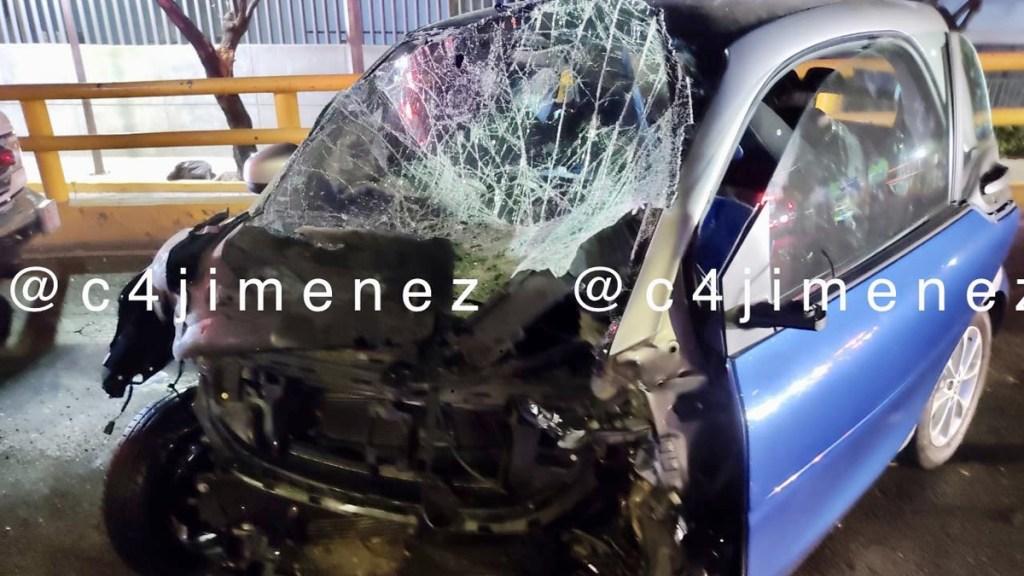 La última ruta de Leonel Luna, exdelegado de Álvaro Obregón, antes de su muerte tras choque - Auto de Leonel Luna tras choque en Iztapalapa. Foto de @c4jimenez